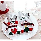 WOVTE 8Pcs Christmas Decorations Snowman Silver Flatware Holder Pockets Table Dinner Home Decoration