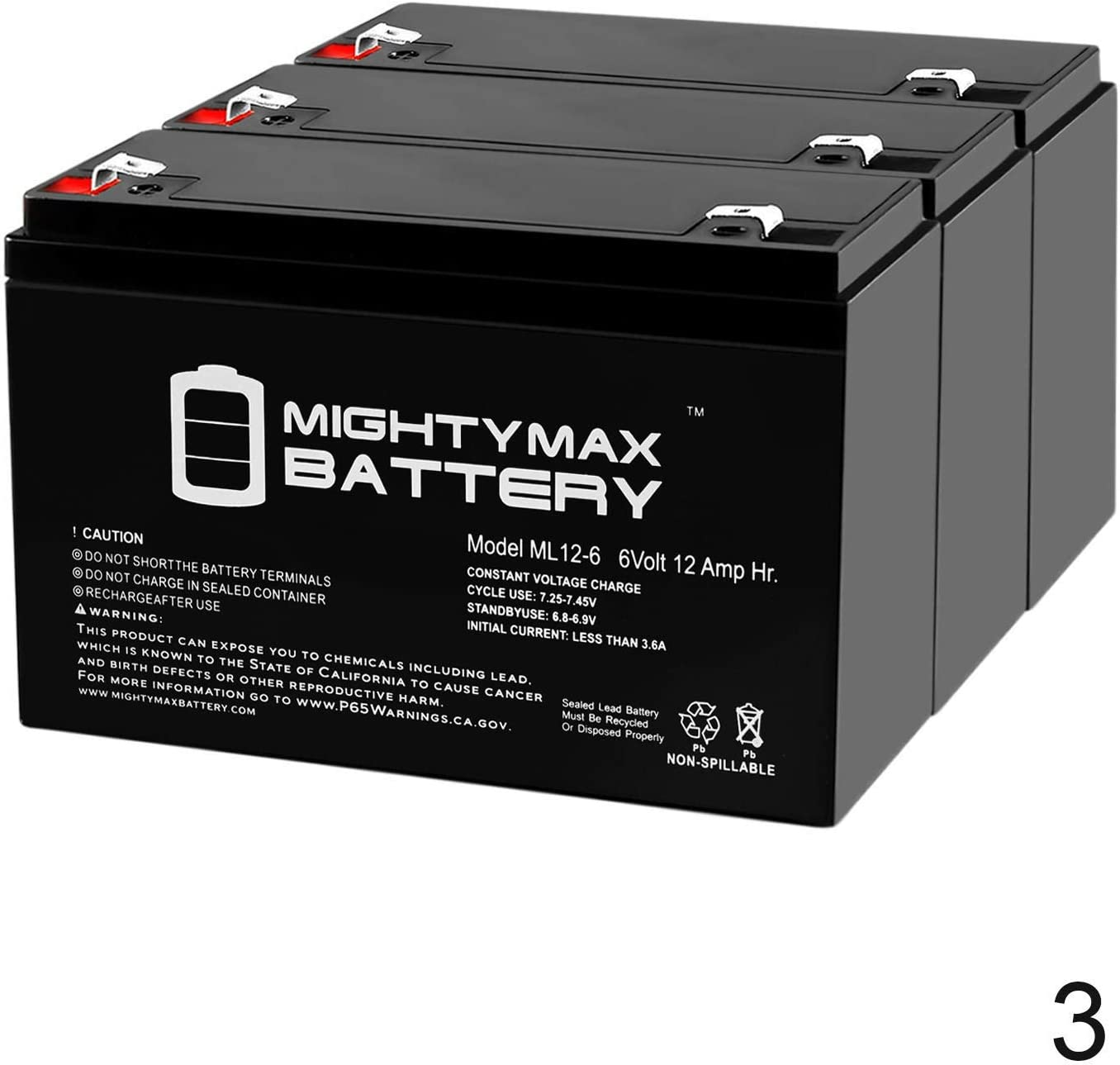 BK900-3 Pack Brand Product Mighty Max Battery 6V 12AH F2 Compatible Battery for APC Back-UPS 900