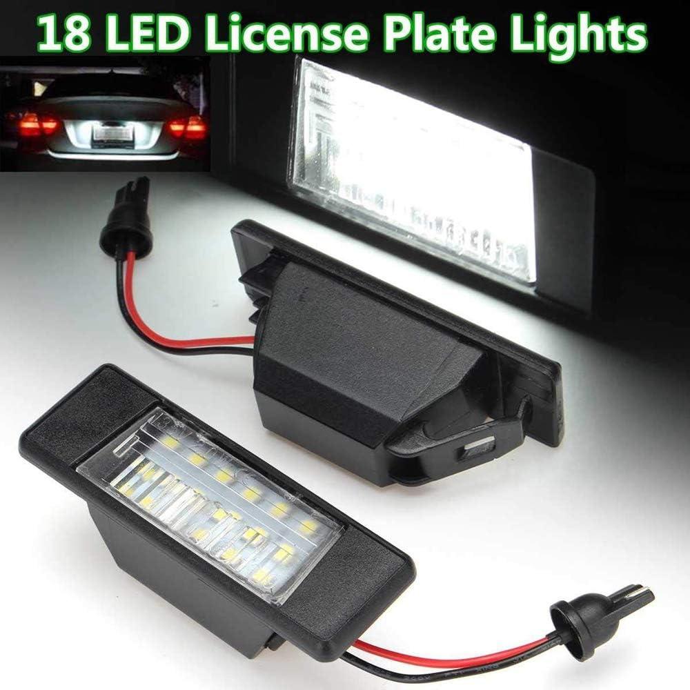 Vaorwne 2PZ Targa per Auto 18Leds Luci nel Plastica per Qashqai X-Trail Juke Primera Luminoso LED Targa Luce della Targa