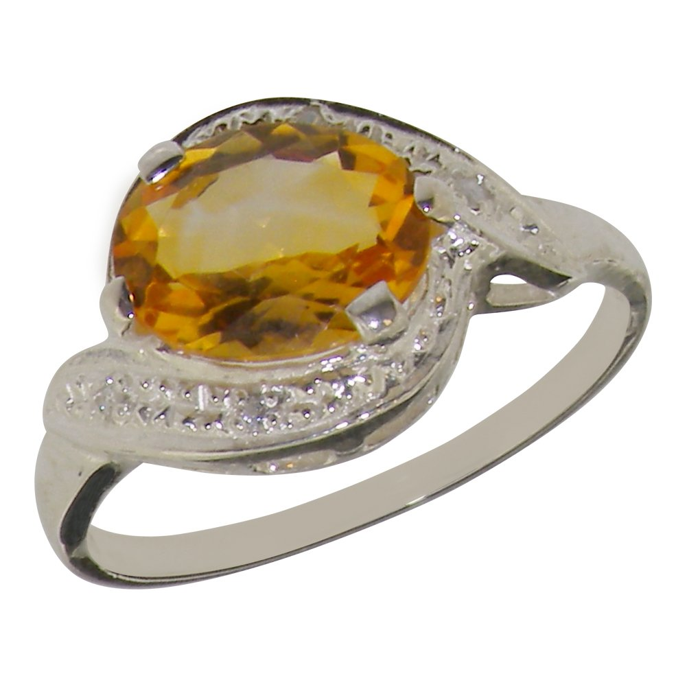 925 Sterling Silver Natural Citrine & Diamond Womens Solitaire Ring (0.04 cttw, H-I Color, I2-I3 Clarity)