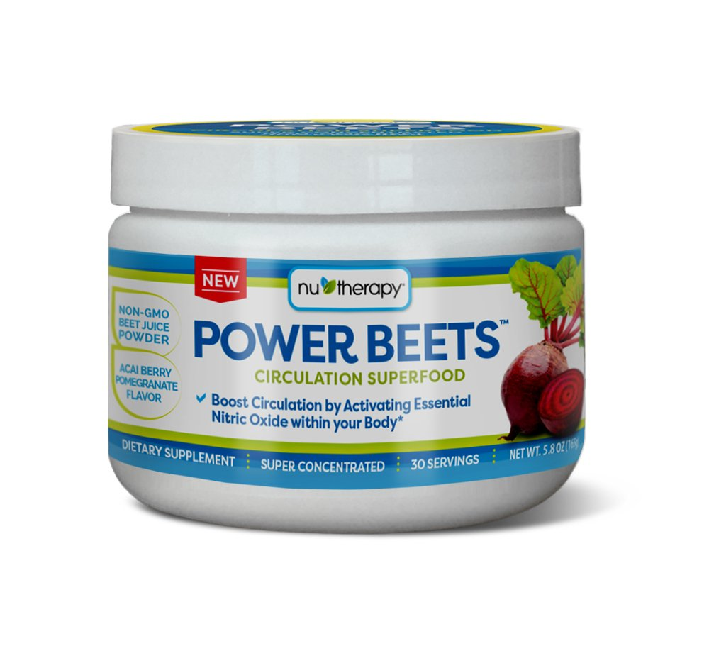 Nu-Therapy Power Beets, Super Concentrated Circulation Superfood, Dietary Supplement - Delicious Acai Berry Pomegranate Flavor - Non-GMO Beet Juice Powder, 30 Servings by Nu-Therapy