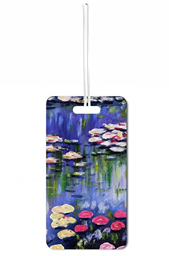 Artist Claude Monet's Water Lilies Rosie Parker Inc. Set of 5 Luggage Tags with Personalized Back