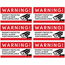 Video Surveillance Camera Stickers (Pack of 6) | For Retail Stores, Warehouses, Garages, and Home Security
