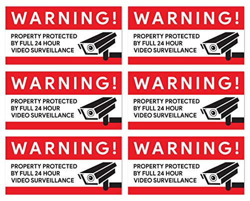 Video Surveillance Camera Stickers (Pack of 6) | For Retail Stores, Warehouses, Garages, and Home - Perimeter Stores
