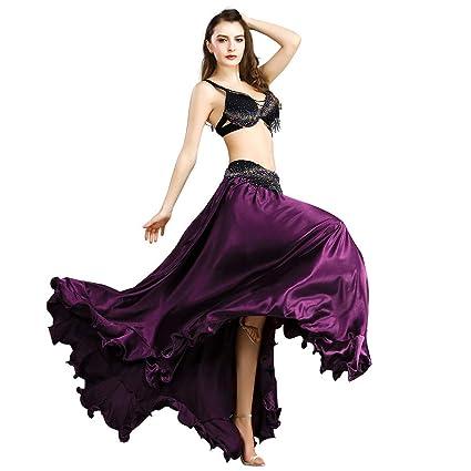 ROYAL SMEELA Disfraz de Danza del Vientre Conjunto de Falda de Sujetador y cinturón Borla de