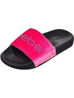 0572ce67ca9 bebe Girls Velvet Rhinestone Slide Sandals (Little Kid Big Kid)