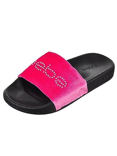 5d341d79ec0f bebe Girls Velvet Rhinestone Slide Sandals