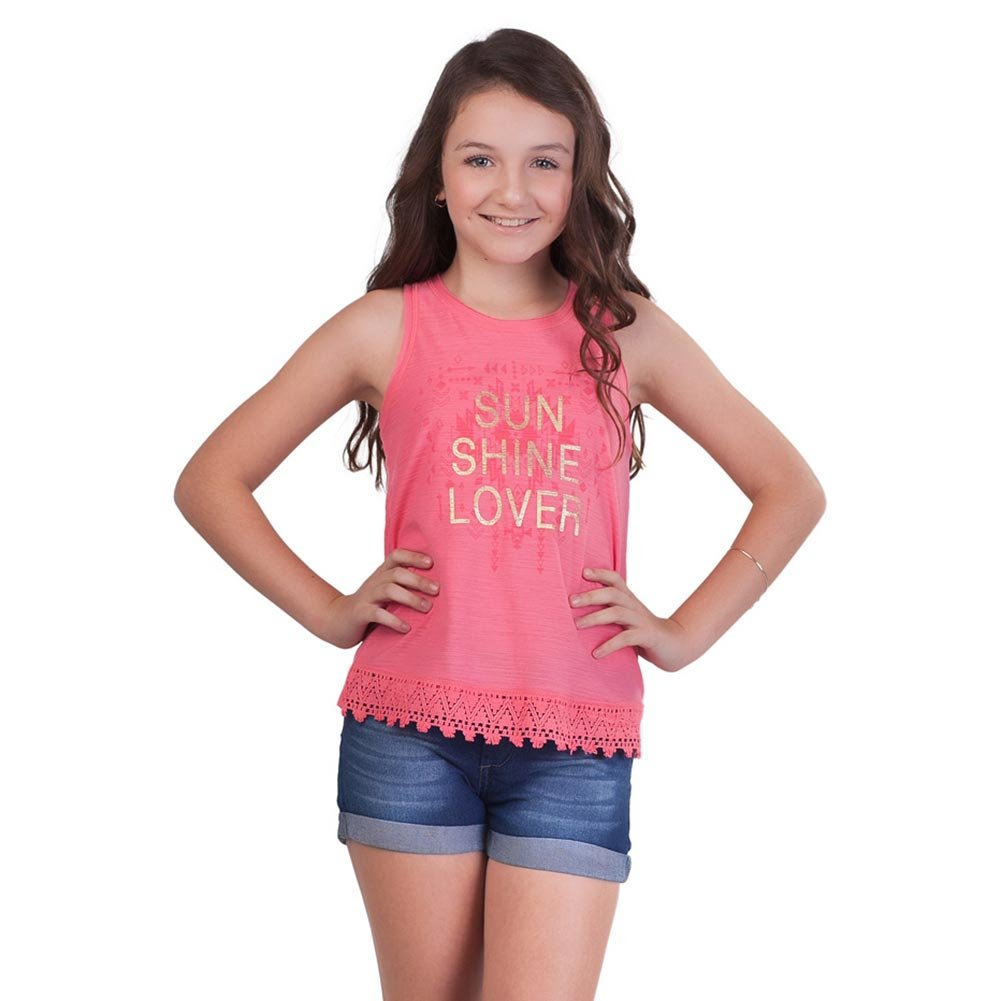 Pulla Bulla Big Girl Lace Tank Top Teen Graphic Sleeveless Tee TWG34801