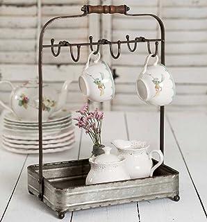 Vintage Rustic Galvanized Tabletop Mug Rack Tea Cup Hook basket Jewelry display  sc 1 st  Amazon.com & Amazon.com: Vintage Style Rustic Wire Dish Rack Plate Display File ...