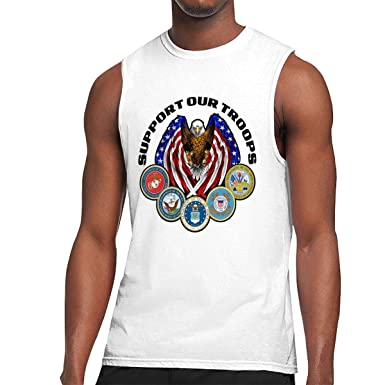 c7fd70081a7 Amazon.com: Support Our Troops Funny Sleeveless T Shirts for Men Novelty  Graphic Muscle Tank Tops Tees White: Clothing