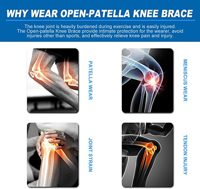 MCL Meniscus Tear Arthritis Adjustable Bi-Directional Straps Siwei Knee Brace Support ACL LCL Open Patella Brace for Injury Recovery Tendonitis Pain
