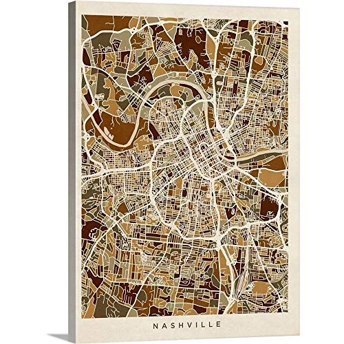 (Nashville Tennessee City Map Canvas Wall Art Print, 18