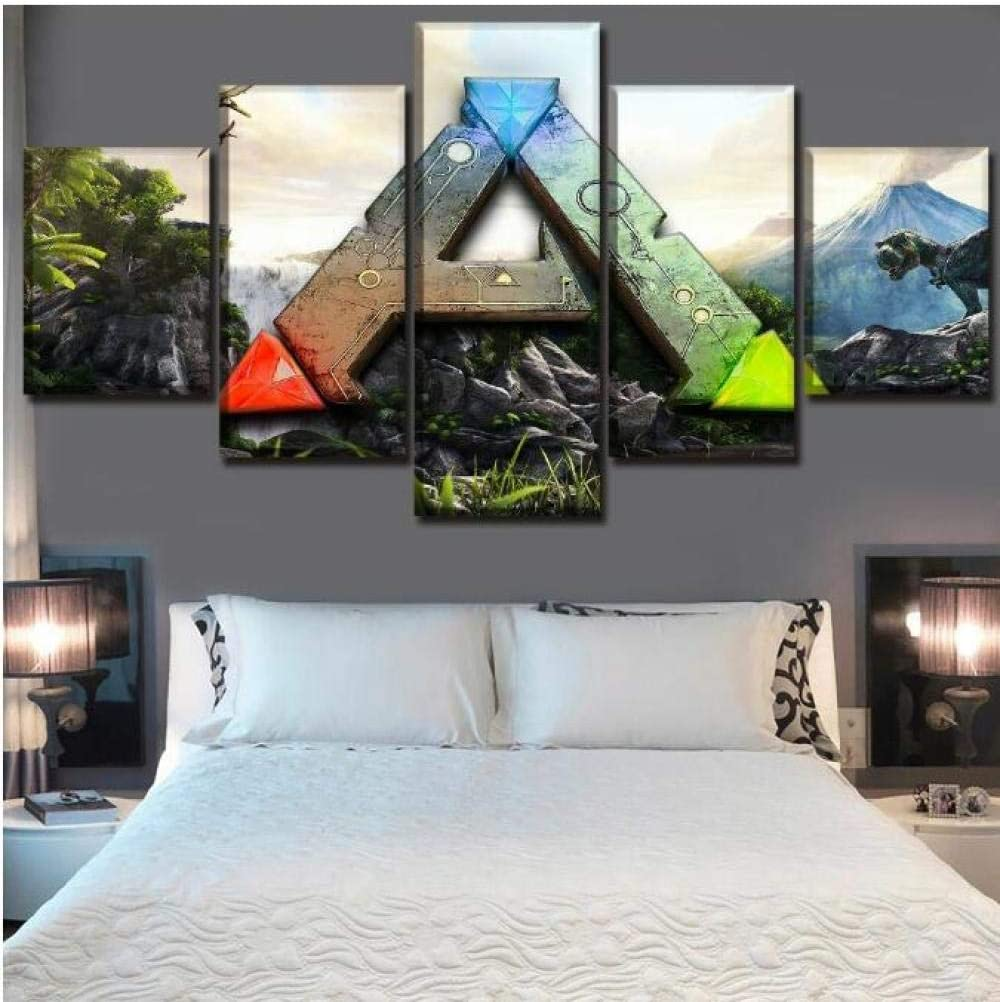 Amazon Com Posters Prints 5 Pieces Game Ark Survival Evolved Logo Living Room Hd Print Wall Art Canvas Posters Home Decor Size 1 No Frame Posters Prints