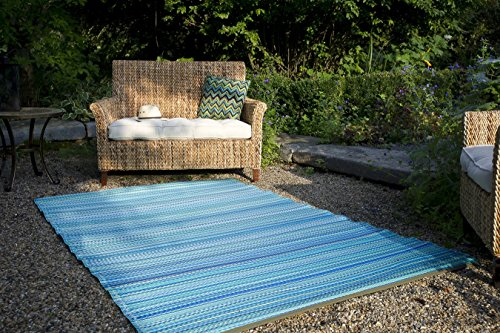 Fab Habitat Reversible Rugs | Indoor or Outdoor Use | Stain Resistant, Easy to Clean Weather Resistant Floor Mats | Cancun - Turquoise & Moss Green, (4' x 6') (Outdoor Indoor Rug)