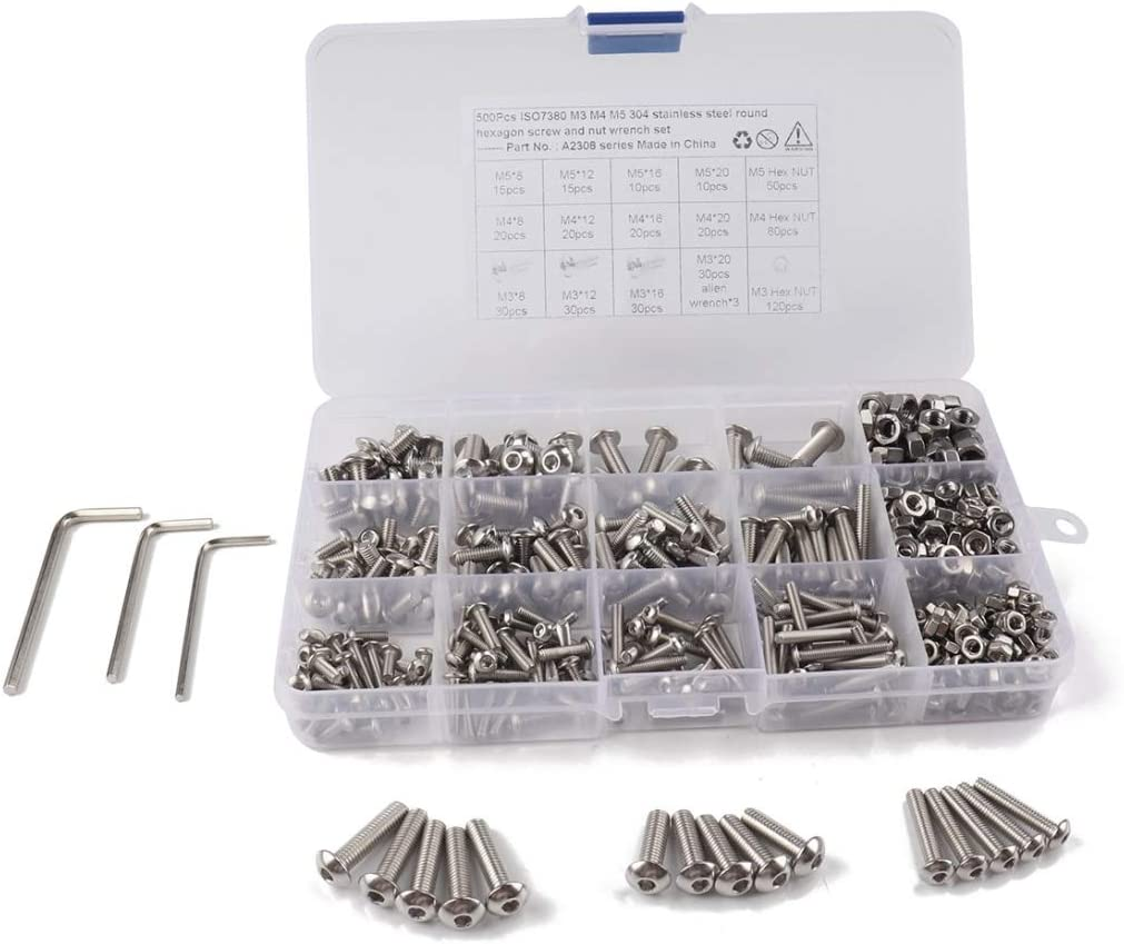 Todayday Light and Beautiful 500 PCS 304 Stainless Steel Screws and Nuts Hex Socket Head Cap Screws Gasket Wrench Assortment Set Kit Standard Type German Standard