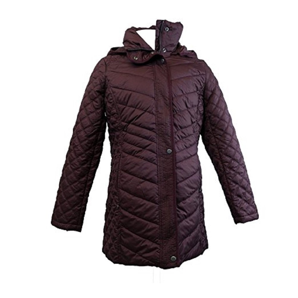 Marc Newyork Andrew Marc Quilted Hooded women's Jacket (Wine,XXL)