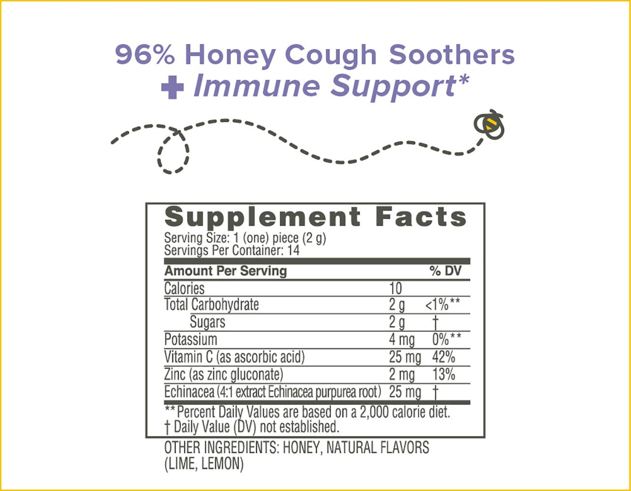 Zarbees Naturals 96% Honey Cough Soother + Immune Support* & 96% Honey Cough Soother + Mucus 28Count (Pack of 2) Simply Made with Honey & Natural ...