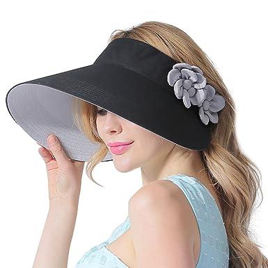 CACUSS Women s Summer Sun Hat Large Brim Visor Adjustable Velcro ... c4d49902a4d
