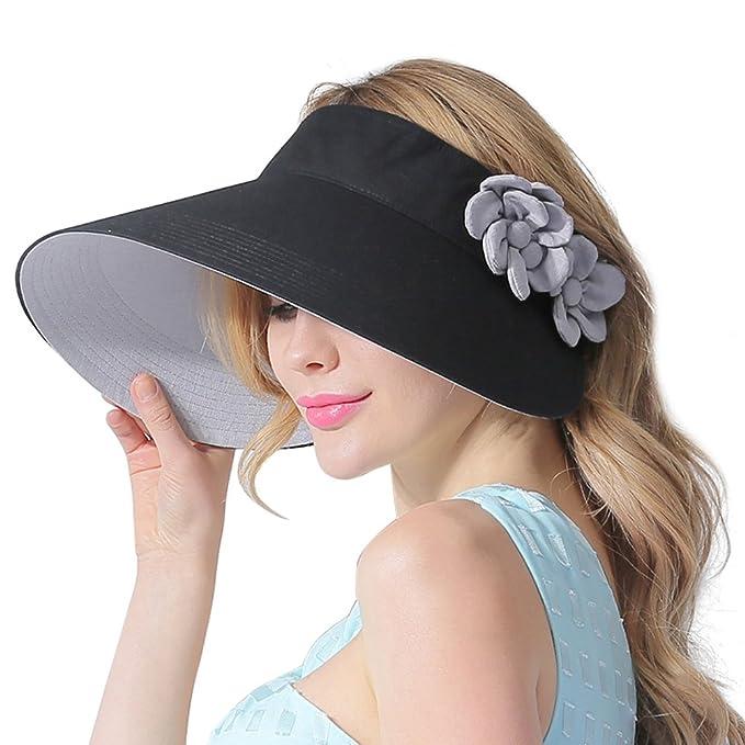 CACUSS Sombrero de Sol de Verano para Mujeres Sombrero de ala Grande Visor  Ajustable de Velcro Packable UPF 50+  Amazon.es  Ropa y accesorios ff7f2e4d2d0