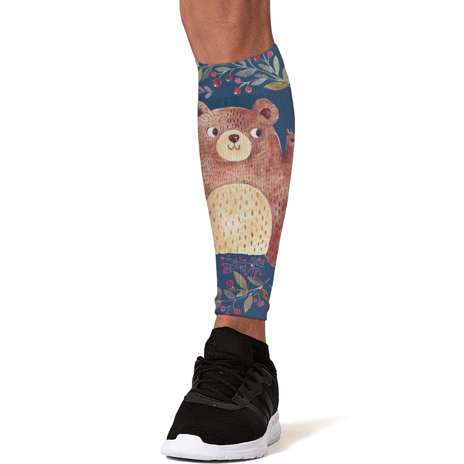 Smilelolly Bear in Wreath Calf Compression Sleeves Helps Shin Splint Leg Sleeves for Men Women