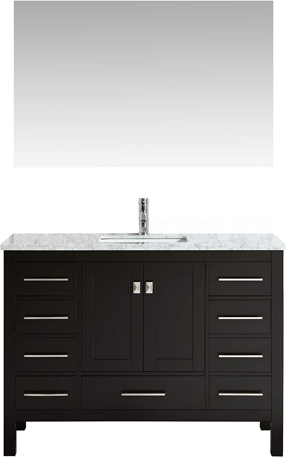 Eviva EVVN412-48ES Aberdeen 48 Transitional Espresso Bathroom Vanity with White Carrera Countertop, Backsplash Isn t Included Combination,