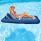 Aqua Premium Convertible Water Lounge Inflatable Oversized Pool Float Multi Position Recliner, 74""