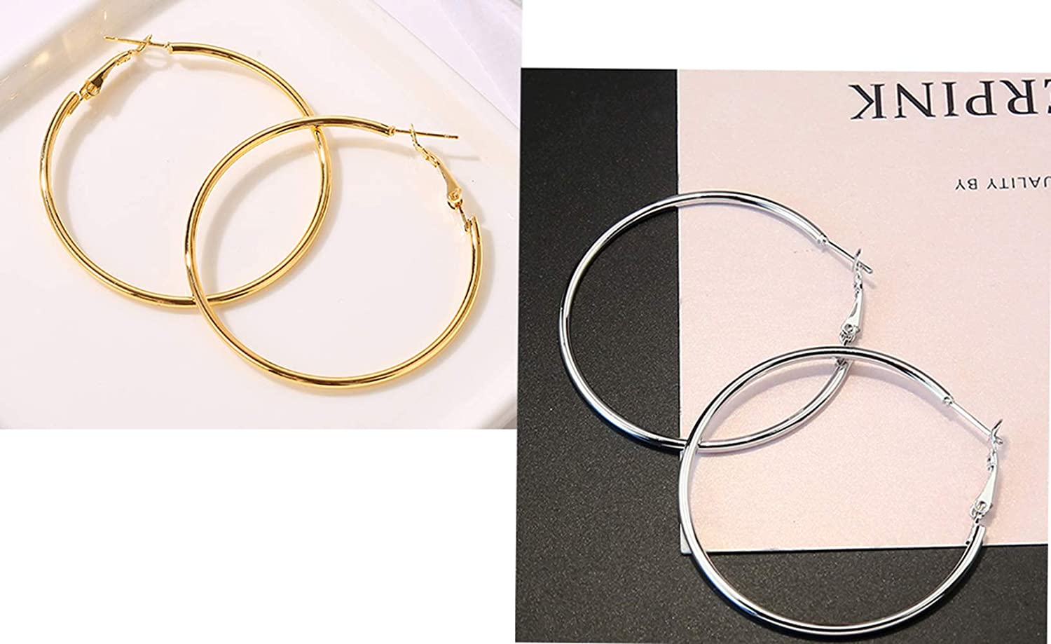 Thank&U 3 Pairs 60mm Big Hoop Earrings,Stainless Steel Hoop Earrings 18K Gold Plated Rose Gold Plated Silver Hoops for Women Girls,Hypoallergenic   with Gift Box(3 Colors Set)