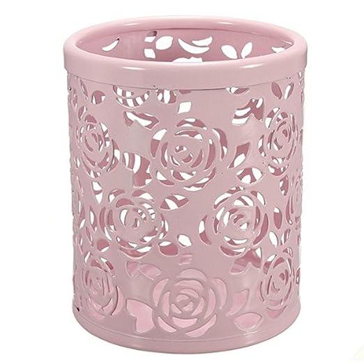 Fre Feder Bleistift Pot Halter Organisator Hohle Rose Blumen Muster
