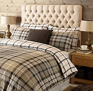 TARTAN CHECK GREY TAUPE 100% BRUSHED COTTON CANADIAN TWIN (COMFORTER COVER 135 X 200 - UK SINGLE) (PLAIN CHARCOAL GREY FITTED SHEET - 91 X 191CM + 25 - UK SINGLE) PLAIN CHARCOAL GREY HOUSEWIFE PILLOWCASES 5 PIECE BEDDING SET