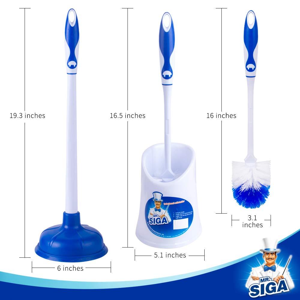 Ltd Dia 15cm Plunger and Toilet Brush with Dia 12cm Brush Holder Ningbo Shijia Cleaning Tools Co MR.SIGA Bathroom Combo Set of 2 SJ21565