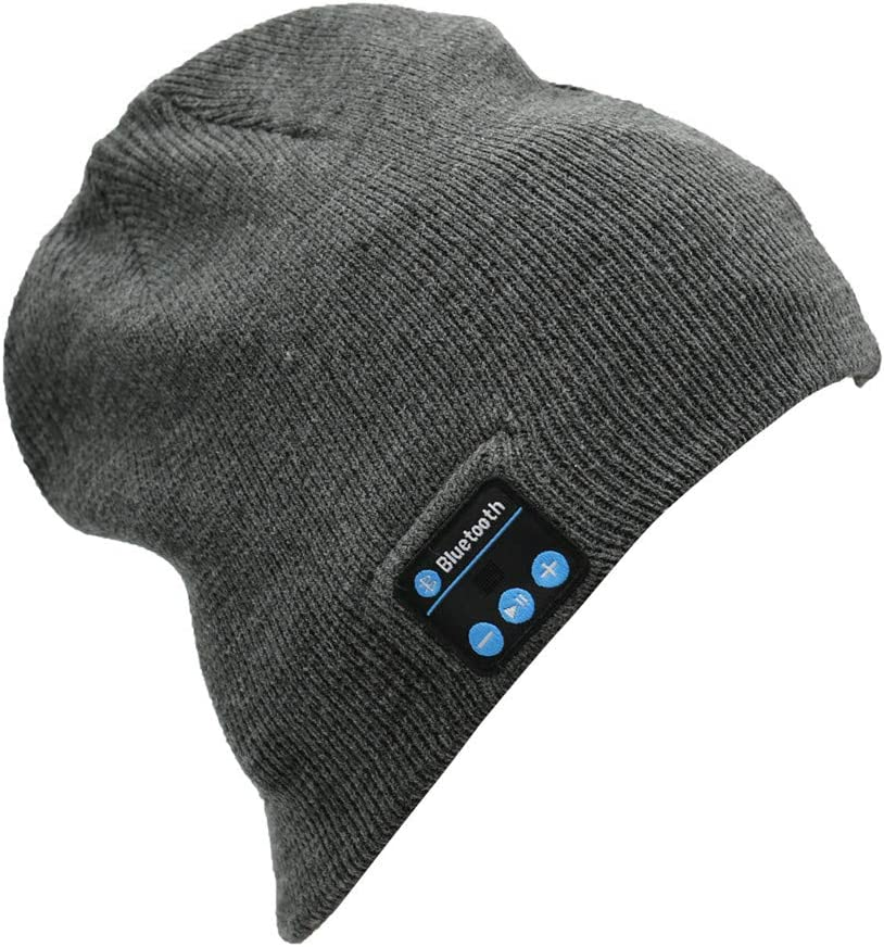 Permotary Bluetooth Beanie Hat (Built-in HD Stereo Speakers) Knit Winter Music Beanie Hat Wireless Beanie Cap Perfect Gift for Family, Friends & Teenagers, Heather Gray