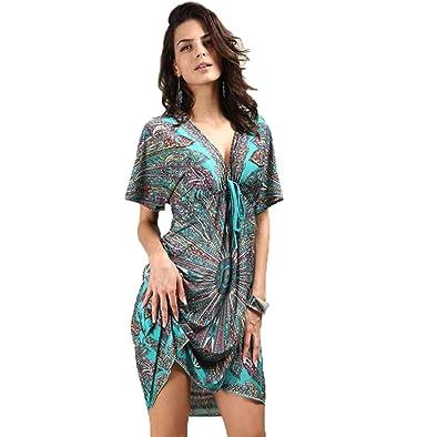 f23177bf44 Boho Tunic Dress - Summer Short Sleeve Loose V Neck Sundress Tribal Printed  Midi Dresses for Women at Amazon Women s Clothing store