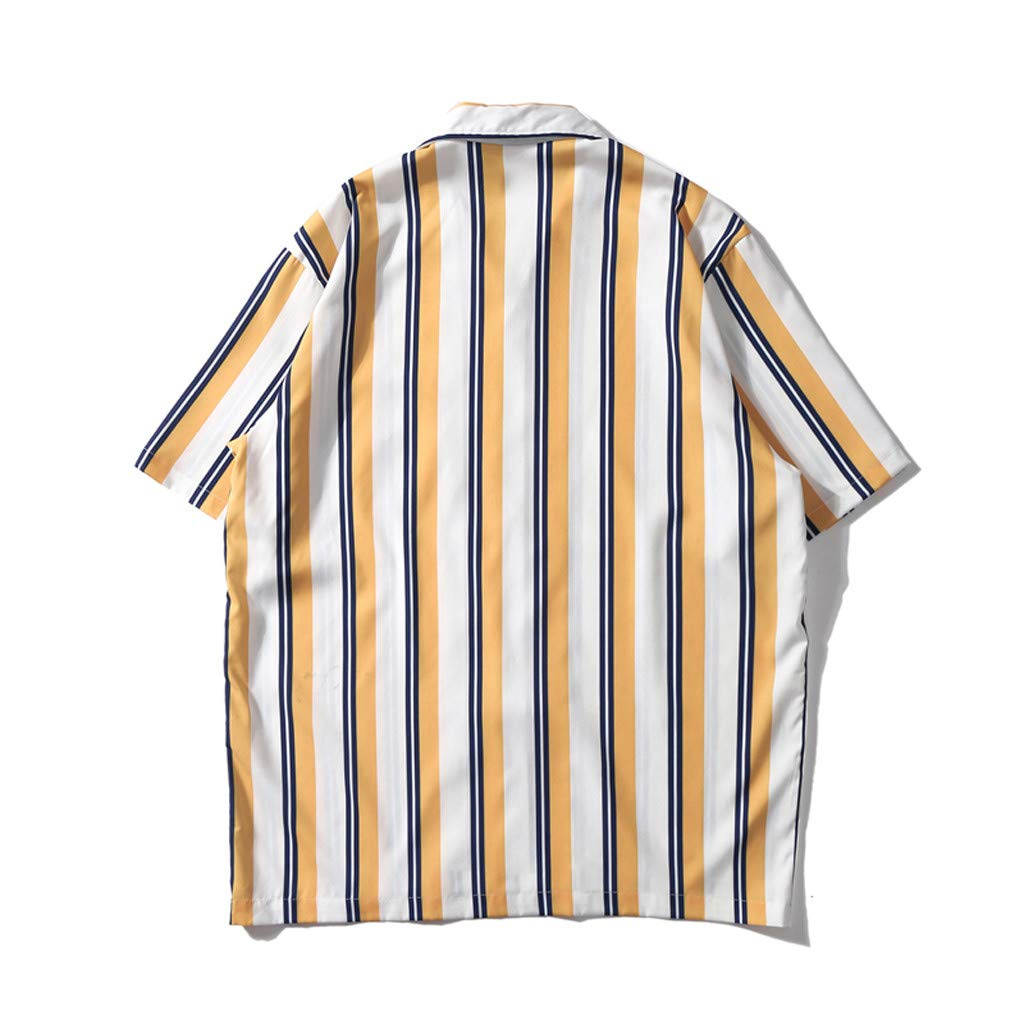 Mens Shirts Casual Short Sleeve Striped Tops Loose Casual Blouse for Summer Fashion!