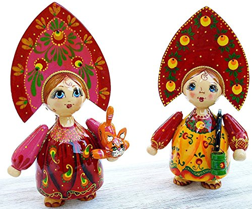 [Handpainted Wooden Folk Doll in Traditional Folk Costume - Wooden Gift from Russia - 8