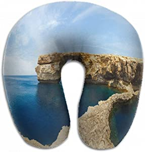 Emvency U-Shaped Travel Neck Support Pillow Azure Window Famous Stone Arch Airplane 12x11.5 Inch Soft U-Pillows with Rebound Material for Kids Adults