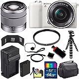 Sony Alpha a5100 Mirrorless Digital Camera with 16-50mm Lens (White) + Sony SEL 1855 18-55mm Zoom Lens + 64GB Bundle 12 - International Version (No Warranty)