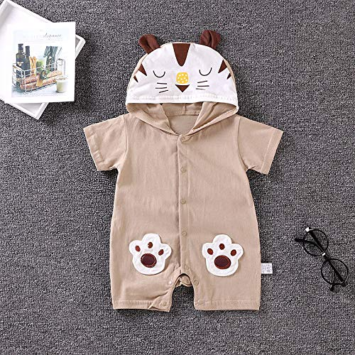 NUWFOR Newborn Baby Boy Girls Cartoon Hoodie Infant Rompers Jumpsuit Outfits Clothes(Coffee,18-24 Months by NUWFOR (Image #1)