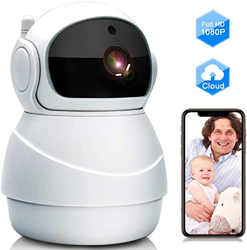 Baby Monitor, WiFi IP Camera 1080P Wireless Security Camera with Two Way Audio, Motion Detection and Cloud Storage Support 2.4G WiFi Night Vision Remote Surveillance Monitor for Home Office Shop