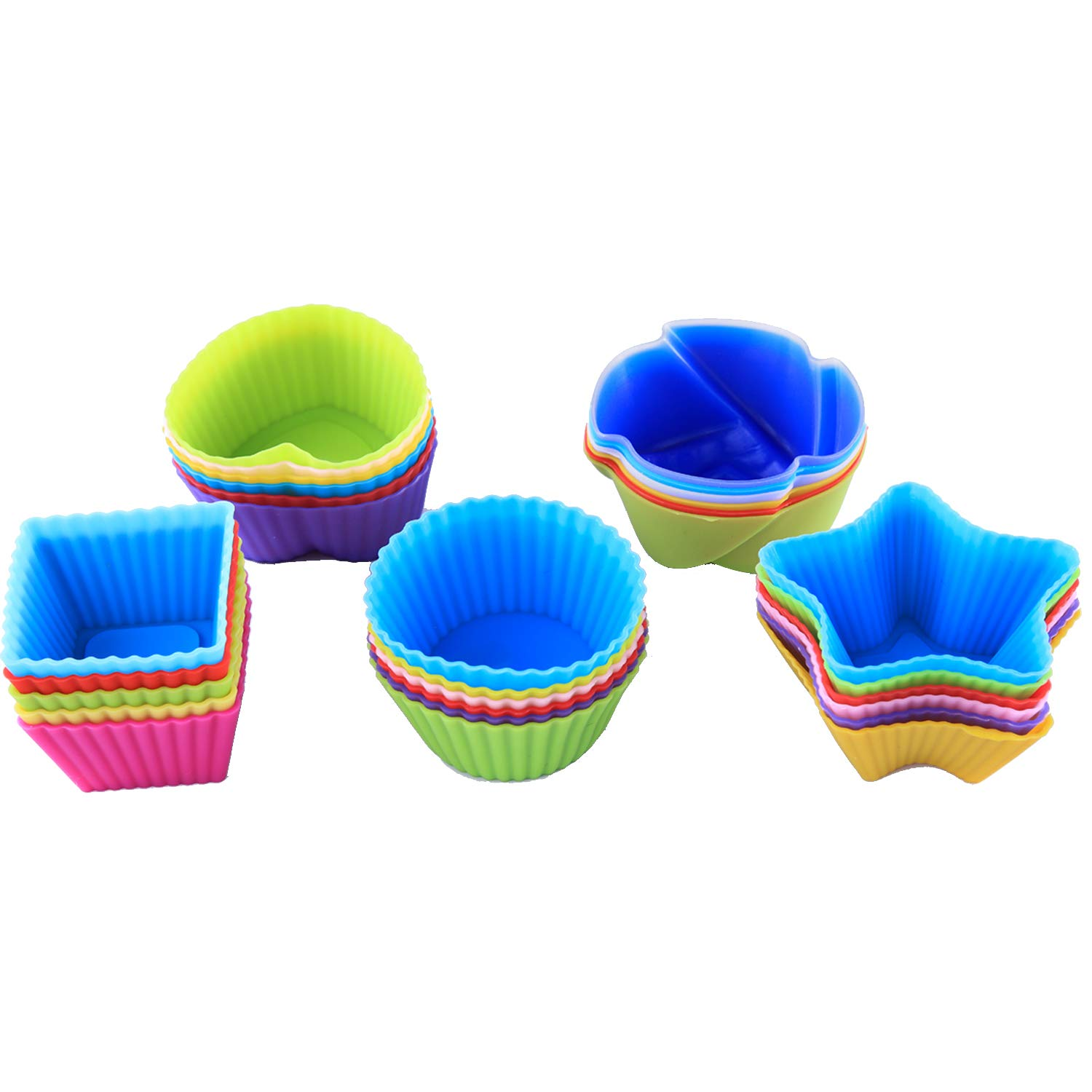 Baking Cups Pack of 30 Reusable Silicone Cup Nonstick Cupcake Liners, Food Grade Heat Resistant Mini Muffin Cup Chocolate Candy Molds Set