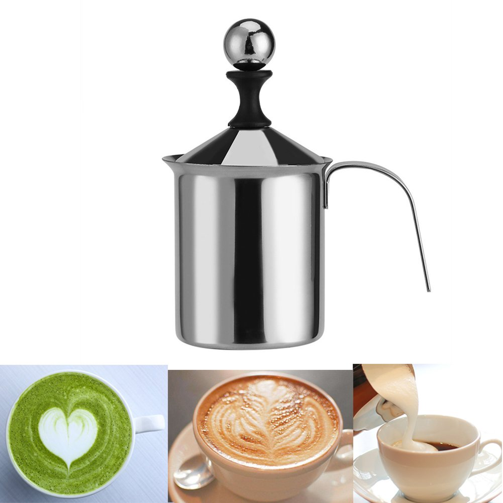 Manual Milk Frother, Delaman Stainless Steel Hand Pump Handheld Frothing Pitchers Operated Foam Maker for Cappuccion Coffee Foamer Creamer Latte (800ML)