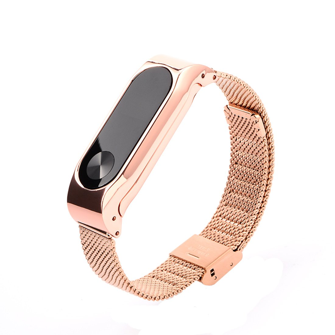 Ollivan Xiaomi Mi Band 2 Straps Fit Stainless Steel Metal Oled Replacement Strap Mijobs Silver Wrist Wristband Bracelet For Smart Miband Rose Gold