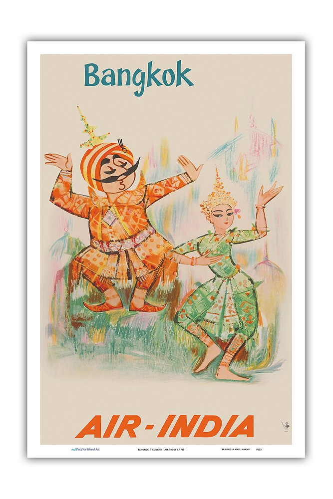 Pacifica Island Art Bangkok, Thailand - Air India - Maharaja with Thai Classical Khon Dancer - Vintage Airline Travel Poster c.1965 - Master Art Print - 12in x 18in by Pacifica Island Art