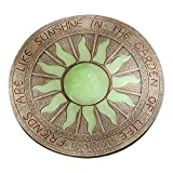 Bits and Pieces - Sun Garden Stone - Glowing Sun In The Dark Garden Stone; Garden Décor - Stone Measures 10'' in diameter