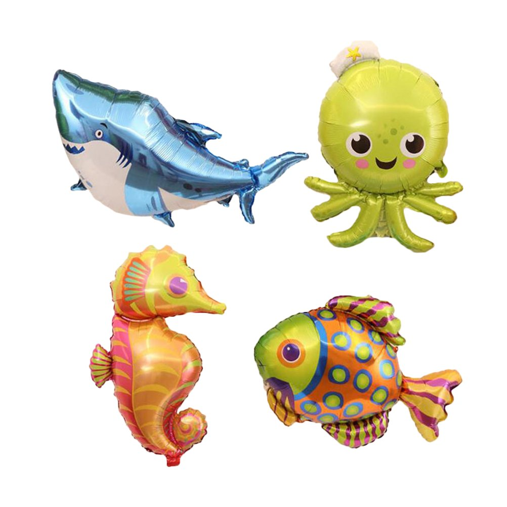 TOYMYTOY Inflatable Sea Animals Foil Balloons - 38 inch Party Balloons of Shark, Octopus, Seahorse, Tropical Fish 4 Pcs