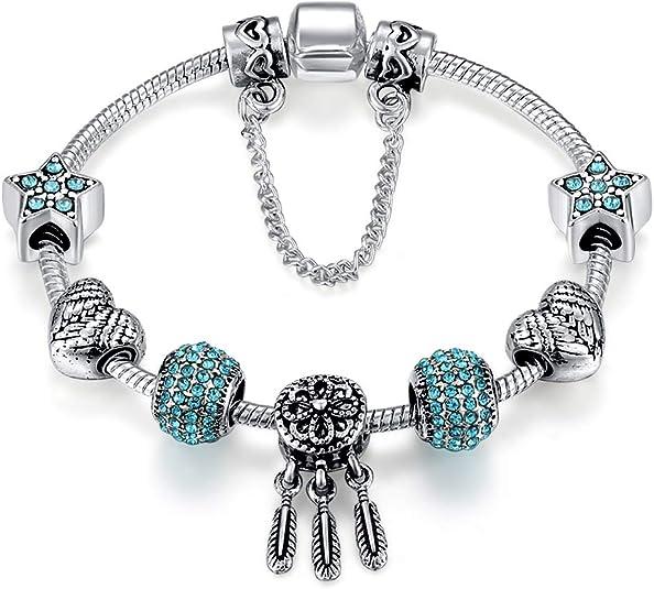 Blue love À faire soi-même Charms Perles Argent European Bracelets Femmes Fashion Jewelry