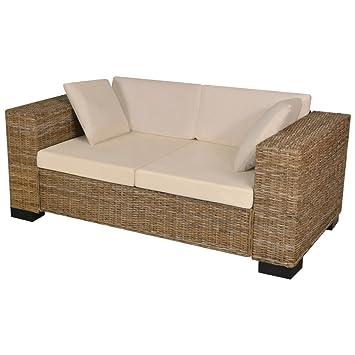 Hervorragend Festnight 7-TLG. 2-Sitzer Sofa Set aus Echtes Rattan Rattansofa YD92