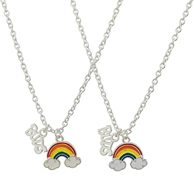 5ccdd57d1b48 Amazon.com  Lux Accessories Rainbow Clouds Best Buds Matching BFF ...