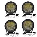 AOSI CREE 9 Inch Round 225W Indensity Led Spot Light Driving lights Headlamp For offroad 4wd 4x4 JEEP FORD TOYOTA Pickup Auxliary Front Bumper/Roof Driving Headlight 18000LM(45PCS5W) Black 4PCS