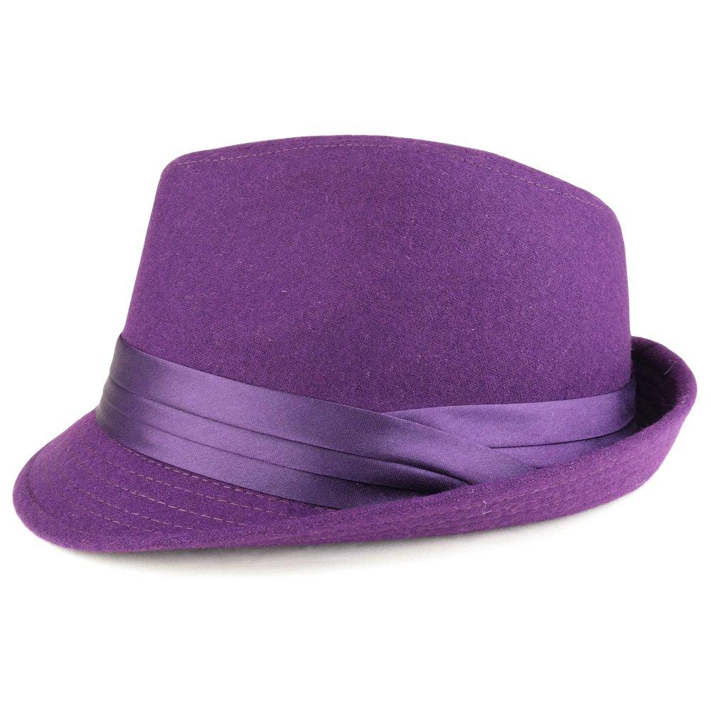 Mens Wool Felt Fedora Hat with Satin Hat Band