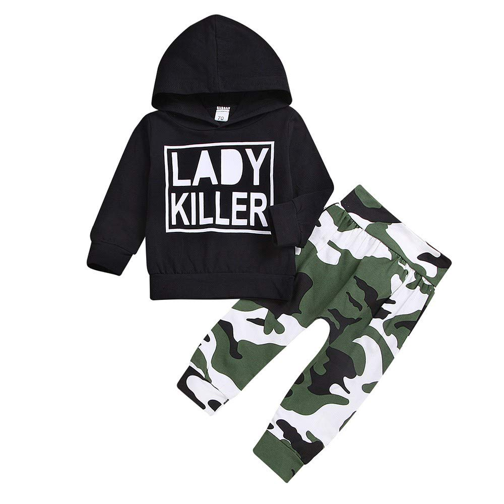 Oldeagle Kids Baby Boys Long Sleeve Lady Killer Letter Hoodie Sweatshirts+Camouflage Print Pants 2PCs Sweatshirt Outfits Set (3-6M, Black)